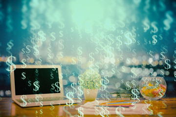 Poster Submarine Forex graph hologram on table with computer background. Double exposure. Concept of financial markets.