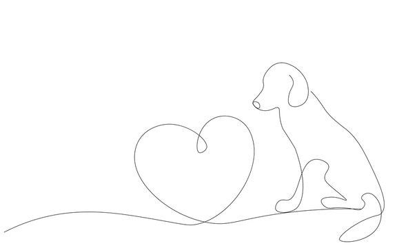 Valentines day background with heart and cute dog vector illustration