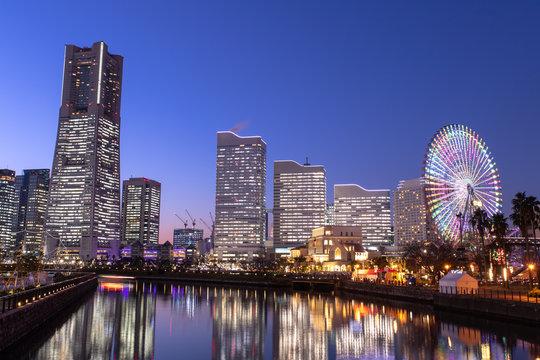 横浜の夜景 みなとみらい21