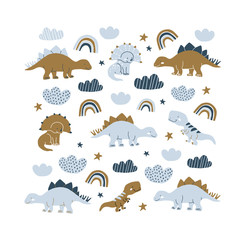 handdrawn dinosaur scandinavian style illustration