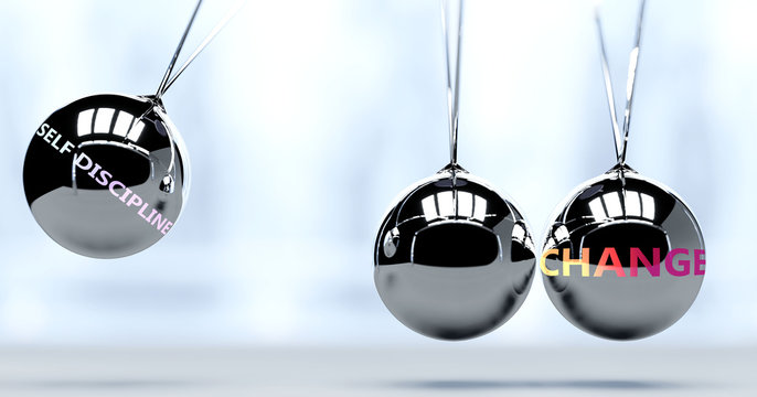 Self discipline and New Year's change - pictured as word Self discipline and a Newton cradle, to symbolize that Self discipline can change life for better, 3d illustration