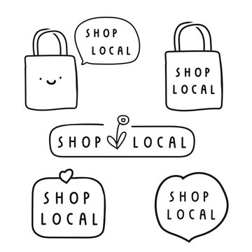 Shop local. Business concept. Set of hand drawn badges, icons. Flat vector illustrations on white background.