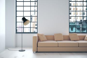 Interior with beige sofa