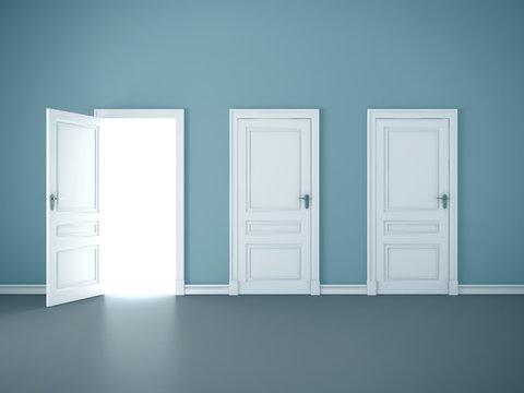 Bright light through an open door