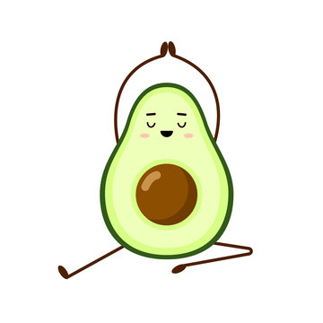 Avocado yoga. Avocado character design on white background. Yoga for pregnant women. Morning exercises for children. Cute illustration for greeting cards, stickers, fabric, websites and prints.