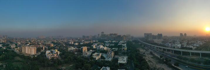 Panoramic aerial view of Noida,gurgaon, india, Rapid metro tracks in urban areas of Delhi NCR. Cityscape. Fototapete