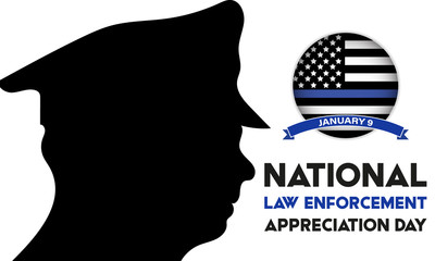 NATIONAL LAW ENFORCEMENT APPRECIATION DAY (L.E.A.D.). January 9. Poster, card, banner, background, T-shirt design.