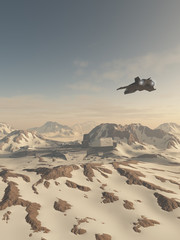Science fiction illustration of a space battle cruiser crashed in snow covered winter mountains with overflying rescue scout ship, 3d digitally rendered illustration