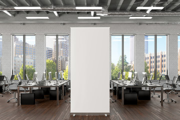 Blank roll up banner stand in white brick office interior. 3d illustration Fotobehang