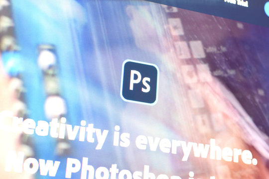 Web page of adobe photoshop product on official website on the display of PC