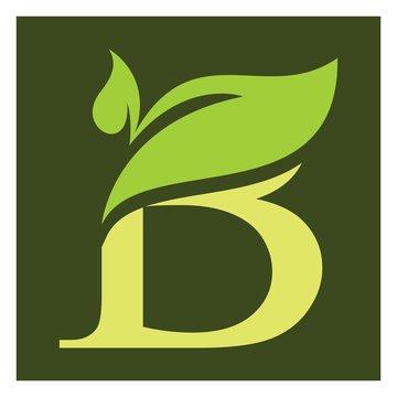 B letter with leaf logo  organic tree logo