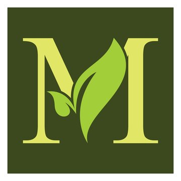 M letter with leaf logo  organic tree logo