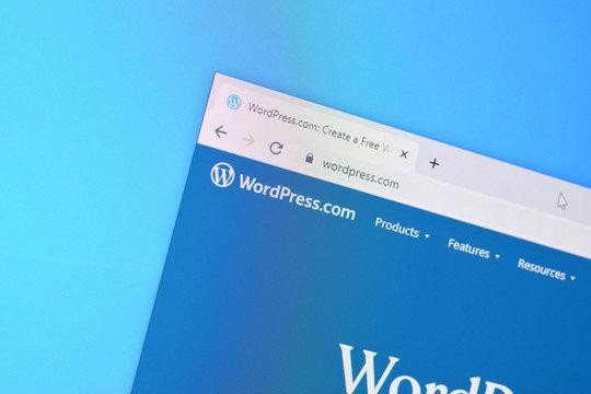 Homepage of wordpress website on the display of PC, url - wordpress.com.