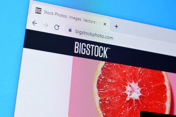 Homepage of bigstockphoto website on the display of PC, url - bigstockphoto.com.