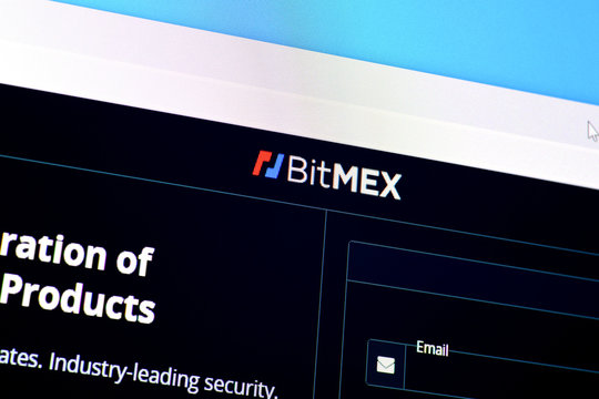 Homepage of bitmex website on the display of PC, url - bitmex.com.