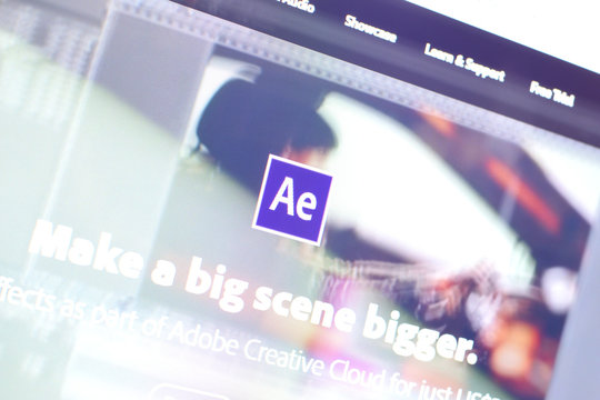 Web page of adobe after effects product on official website on the display of PC