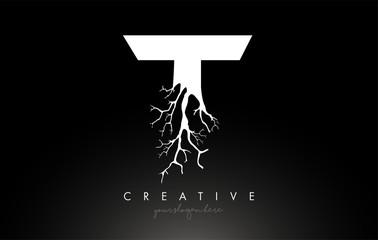 Fototapeta Letter T Design Logo with Creative Tree Branch. T Letter Tree Icon Logo obraz