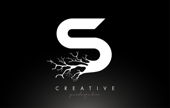 Letter S Design Logo with Creative Tree Branch. S Letter Tree Icon Logo