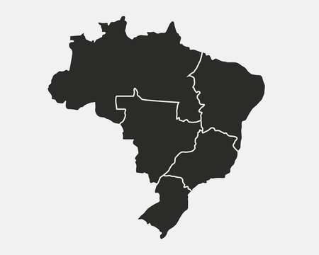Map of Brazil with regions isolated on white background. Brazil map. Vector Brazilian background.