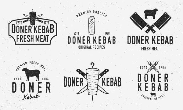 Doner kebab logo set. Vector kebab, shawarma, lamb, kebab sandwich logo set with grunge texture isolated on white background.