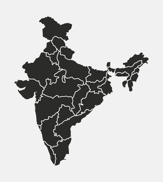 India vector map isolated on white background. India map with states. Indian background.