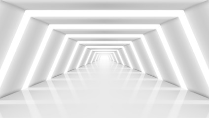 3D Abstract Future Long Corridor Light Interior Papier Peint