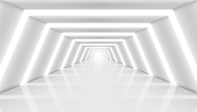 3D Abstract Future Long Corridor Light Interior