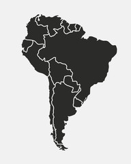 Wall Mural - South America map isolated on a white background. Latin America background. Map of South America with regions. Vector illustration