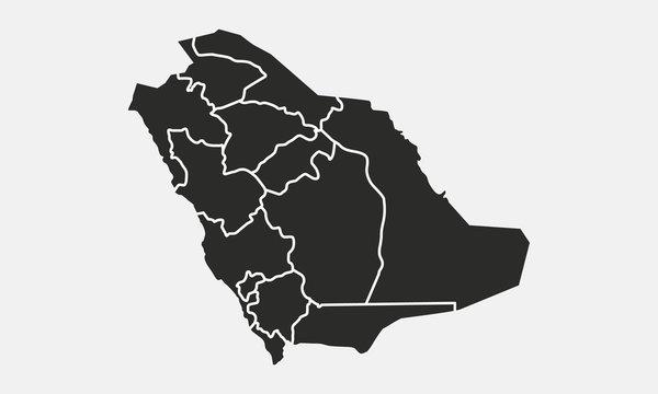 Saudi Arabia map isolated on a white background. Saudi Arabia background. Map of Saudi Arabia. Vector illustration