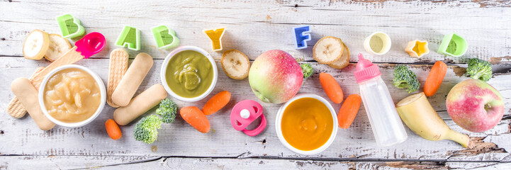 Colorful baby food puree