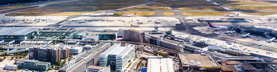 aerial of airport in Frankfurt Germany
