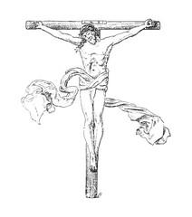 Old crucifix / vintage illustration from Brockhaus Konversations-Lexikon 1908