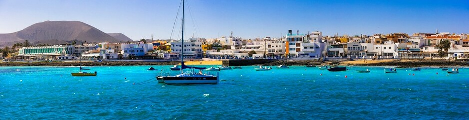 Fuerteventura island holidays. Famous Corralejo village and beach. Canary islands of Spain