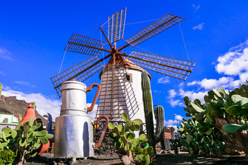 Traditional old windmills of Canary islands. Grand Canary (Gran Canaria)