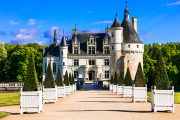 Beautiful castles of Loire valley - elegant Chenonceau, France