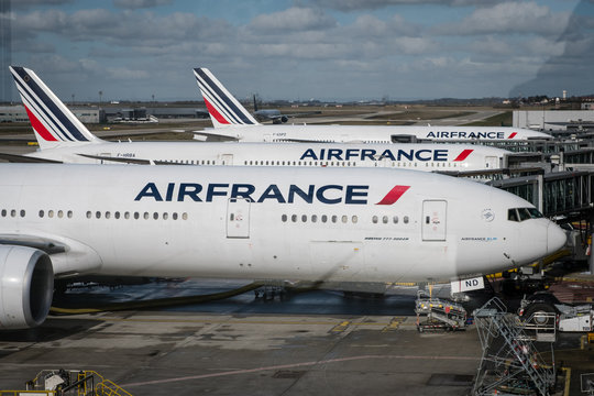 Air France airplanes at Charles de Gaulle airport in Paris, France, March, 2019