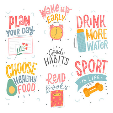Set of good habits typographic phrases for stickers, card, poster. Healthy life style slogan.