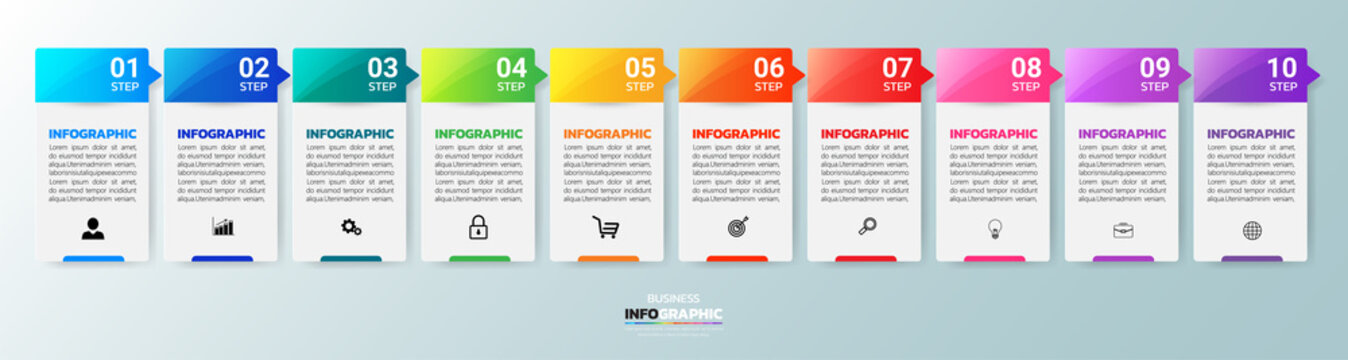Infographics design template, 3D Business concept with 10 steps or options, can be used for workflow layout, diagram, annual report, web design.Creative banner, label vector.