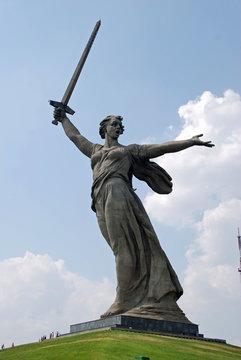 "The giant statue ""The Motherland Calls"" at Mamayev Kurgan overlooking the River Volga in Volgograd, Russia"