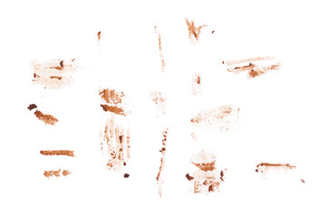 Chocolate brown smear isolated on the white background. Top view.