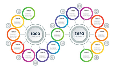 Presentation or infographics with 15 steps. Template of Info graphic for technological or education process with Fifteen options. Annual report. Gradual development of business in a recession.