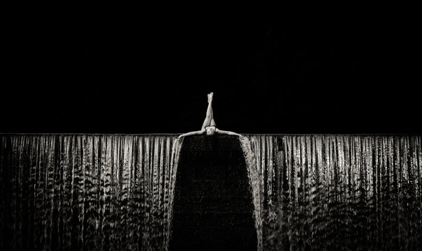 Girl on a waterfall