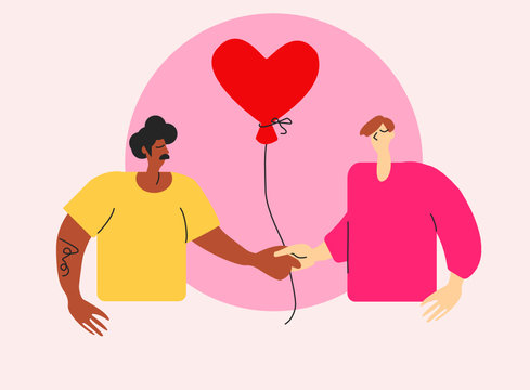 Cute bright illustration of queer gay couple on St Valentine's Day. Interracial LGBT men in love with red heart air balloon. Young boyfriends together on special day on greeting card
