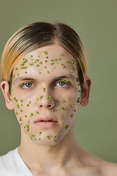 Beauty Portrait With Small Green Flowers