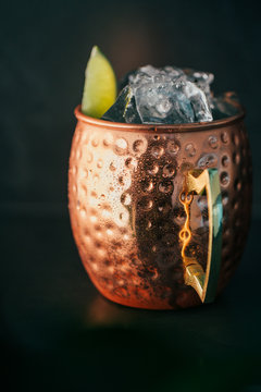 Moscow mule cocktail in copper jar