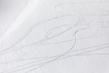 Ski tracks through powder