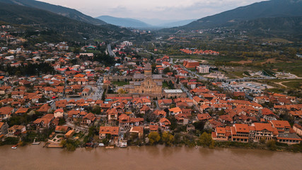 Panoramic Drone View Of a town With Orange tile Roofs