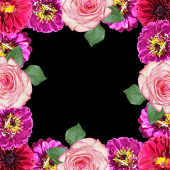 Wall Mural - Beautiful floral background of roses, zinnias and dahlias. Isolated