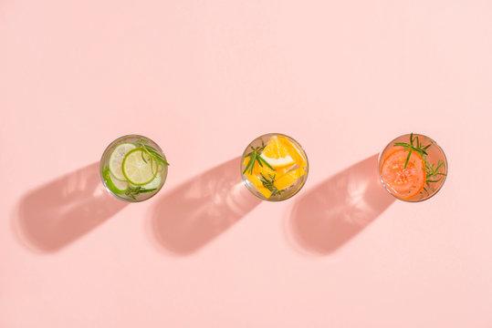 Glasses of detox water