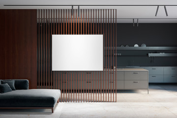 Empty dark living room interior with sofa and empty mock up poster on the partition with a view of the kitchen. Front view. 3d render